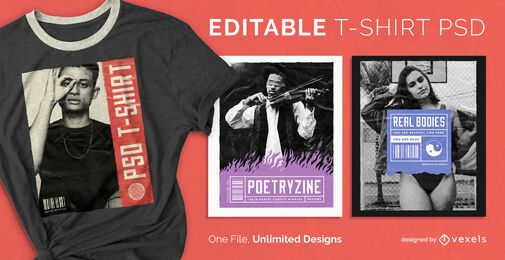 Magazine cover scalable t-shirt psd