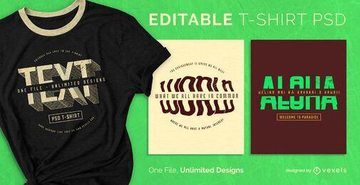 T-shirt escalonável com texto dividido psd