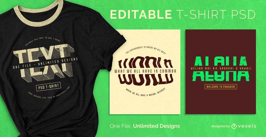 Split text scalable t-shirt psd