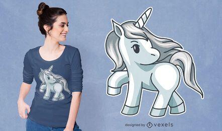 Diseño de camiseta de unicornio plateado