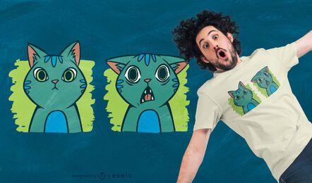 Diseño de camiseta de expresiones de gato.