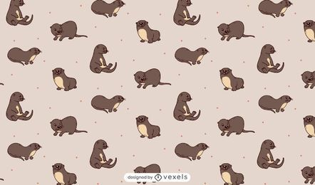 Desenho de padrão de lontras