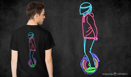 Design de camiseta neon e-monociclo