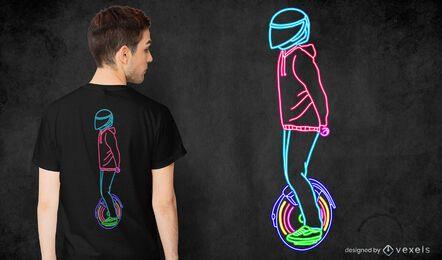 Diseño de camiseta de neón e-monociclo.