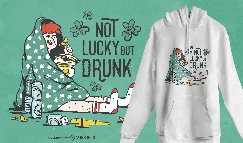 Not lucky but drunk t-shirt design