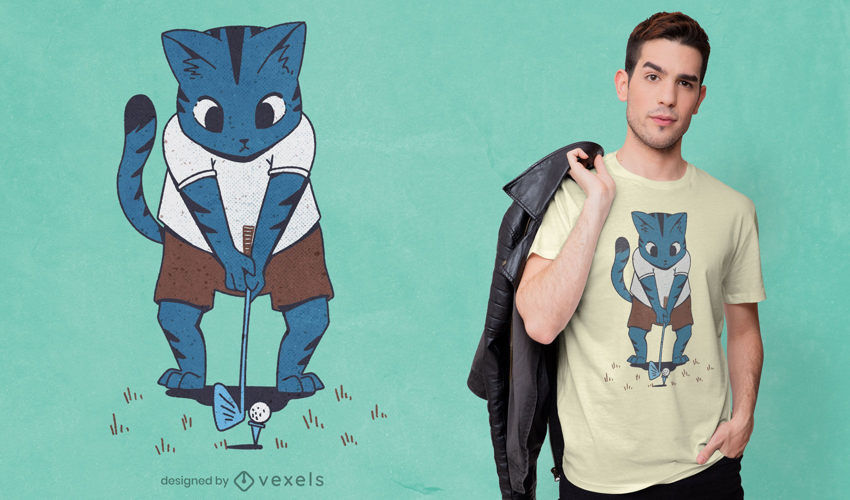 Design de t-shirt de gato a jogar golfe