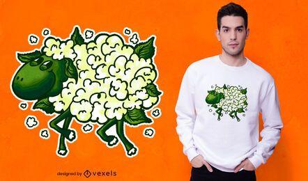 Diseño de camiseta de oveja coliflor.