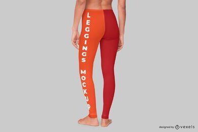 Design de maquete de leggings traseiras
