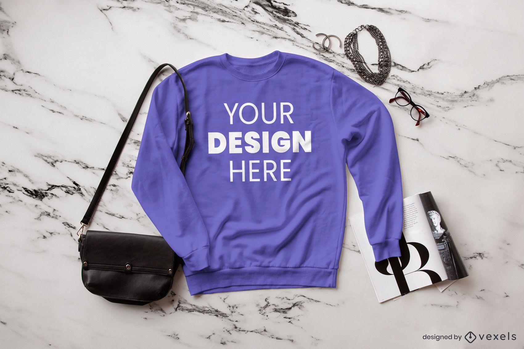 Fashion sweatshirt mockup composition