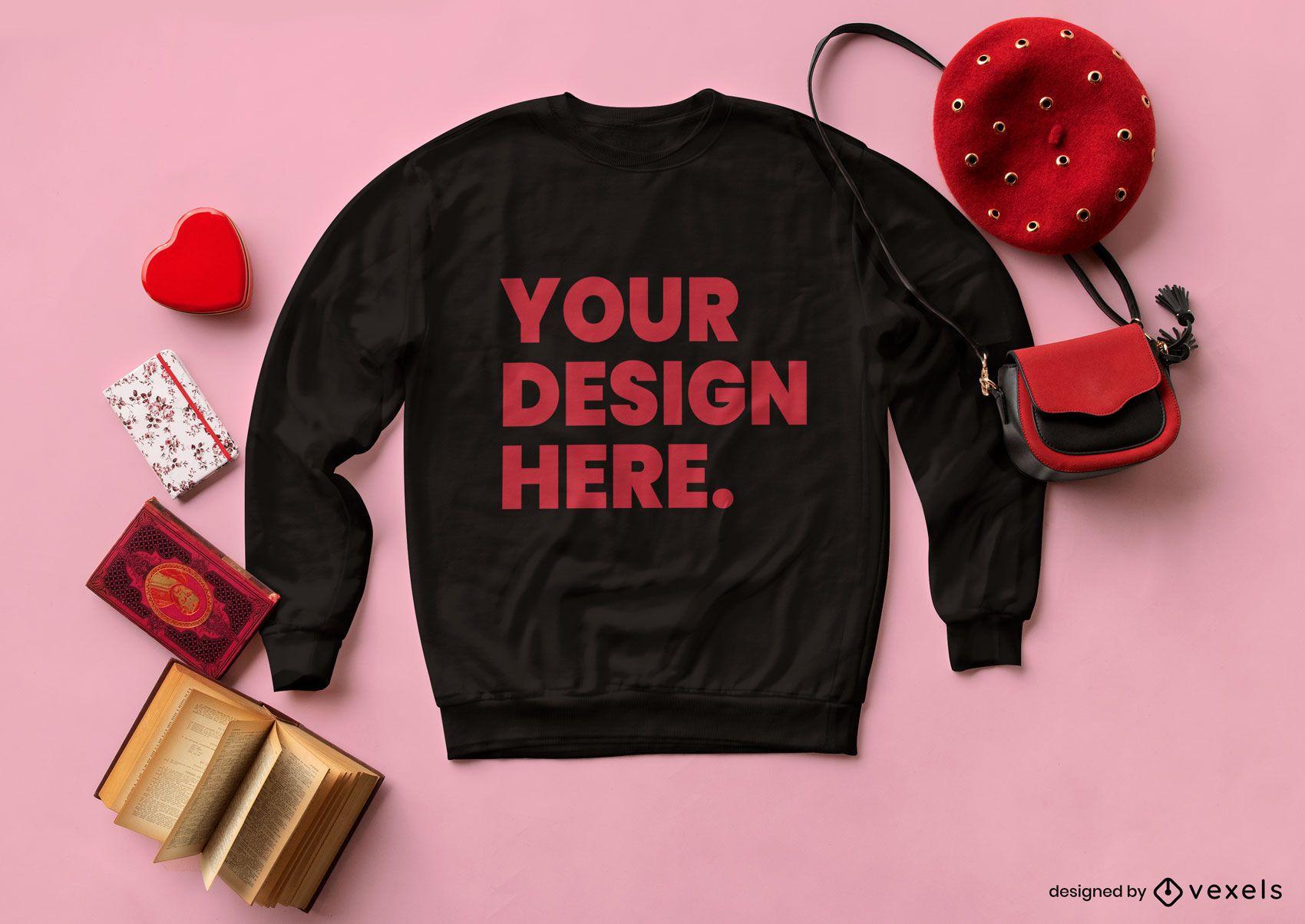 Valentine's day sweatshirt mockup composition