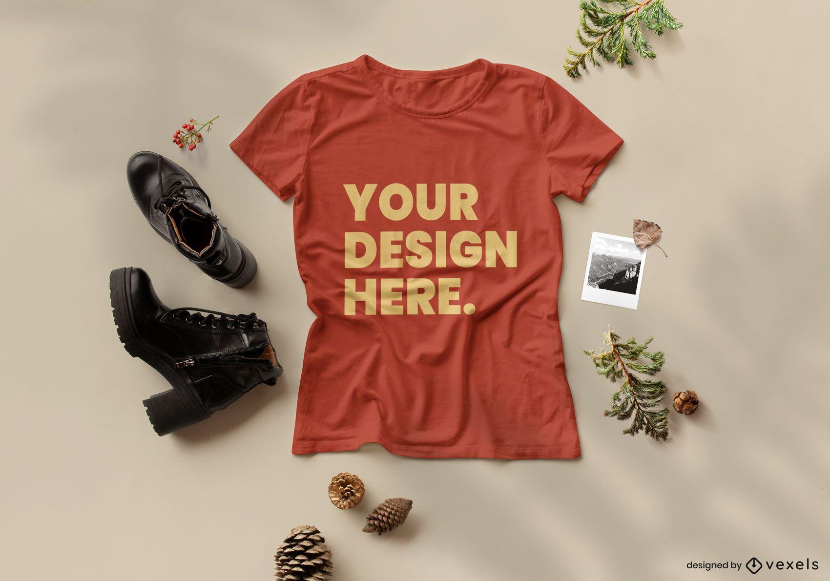 Composición de maqueta de camiseta de naturaleza