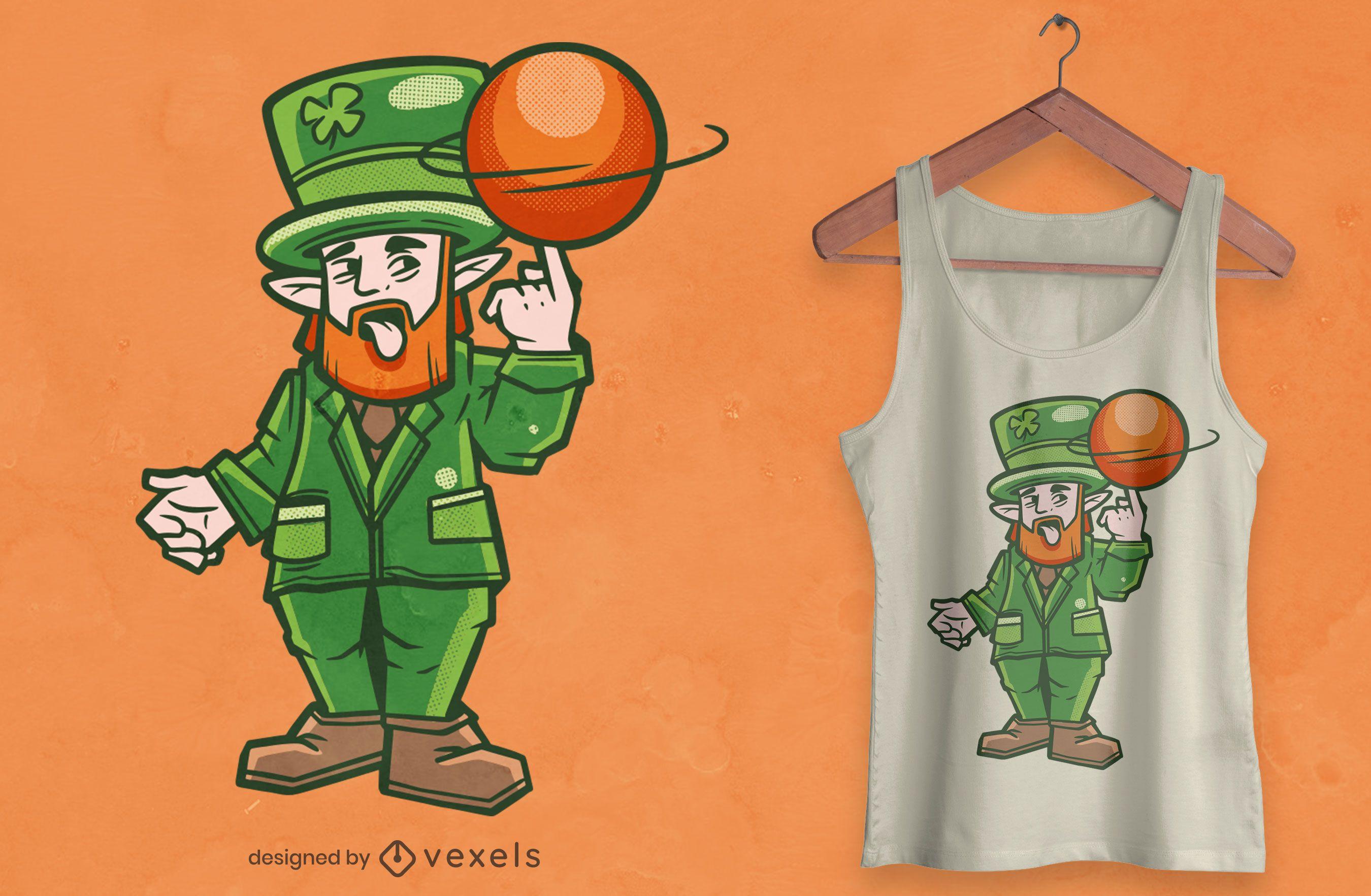 Diseño de camiseta de duende de baloncesto.