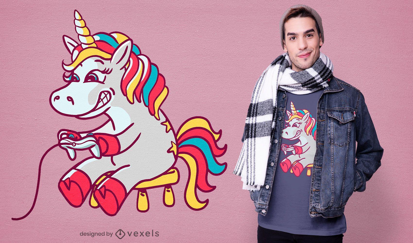 Gaming unicorn t-shirt design
