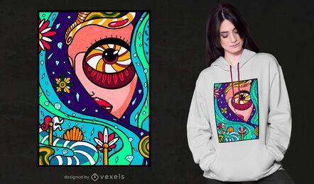 Diseño de camiseta de niña de cielo abstracto