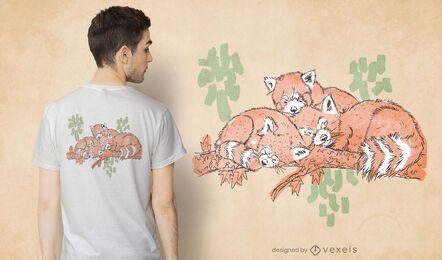 Diseño de camiseta para dormir pandas rojos.
