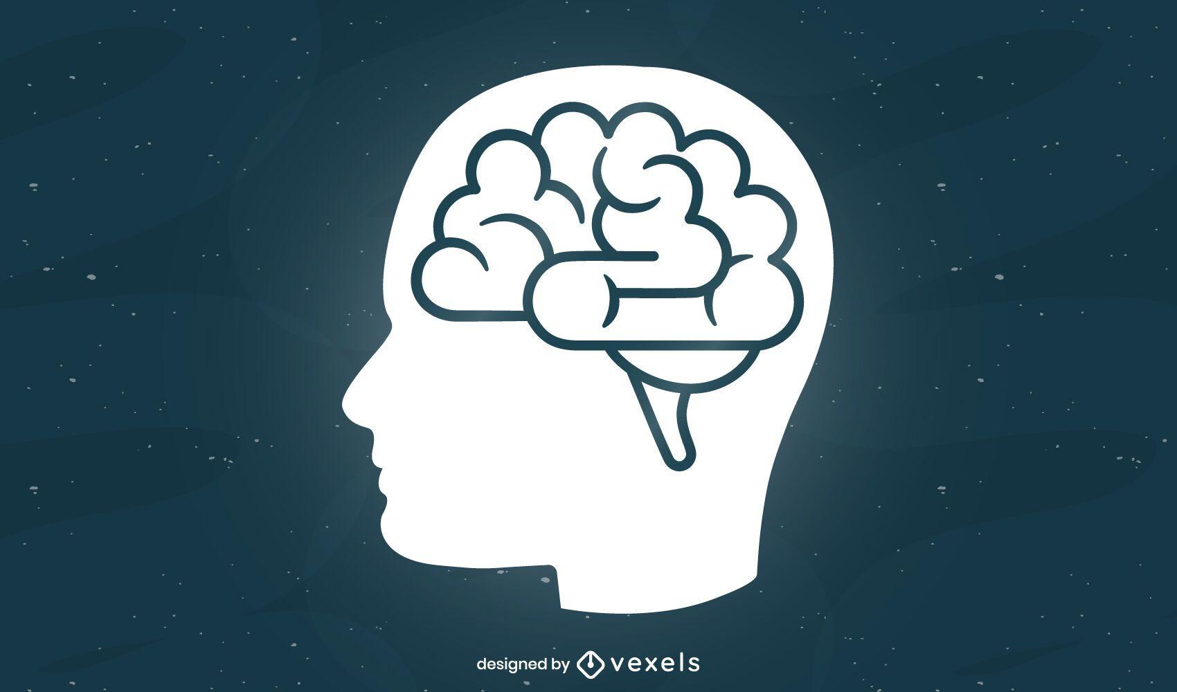 Desenho de ilustração de perfil de cérebro humano