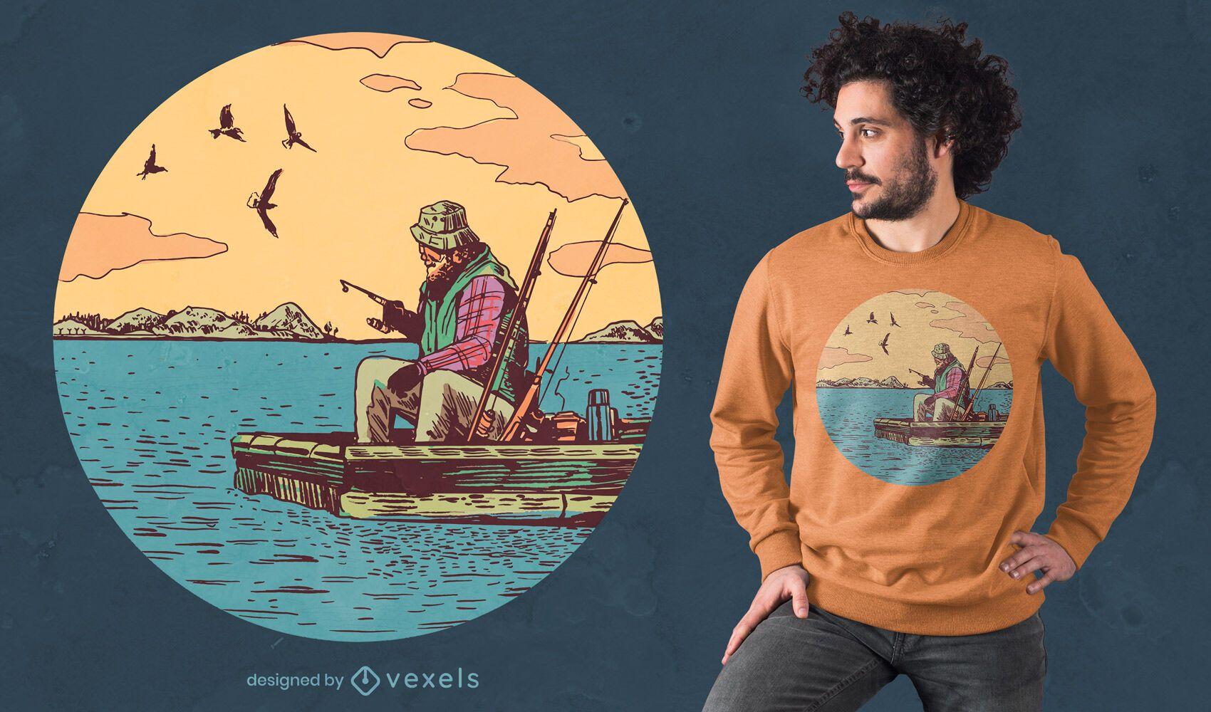 Old man fishing t-shirt design