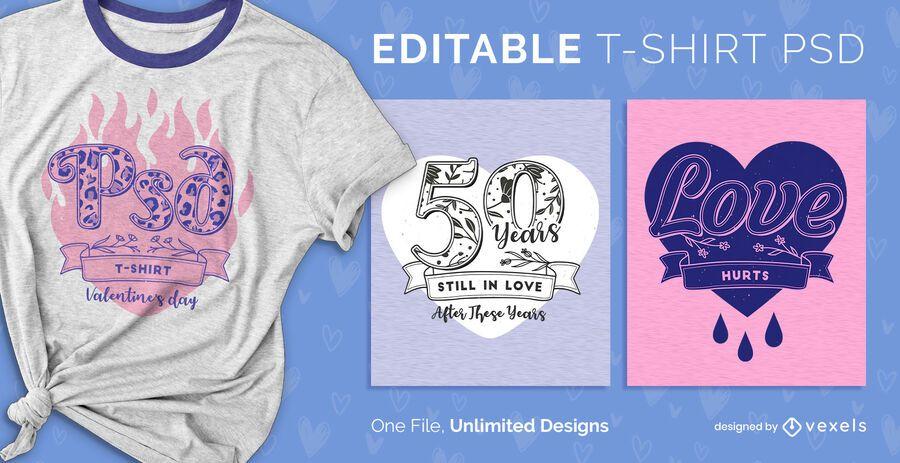 Camiseta escalable de san valentín psd