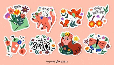 Conjunto de pegatinas de temporada de primavera