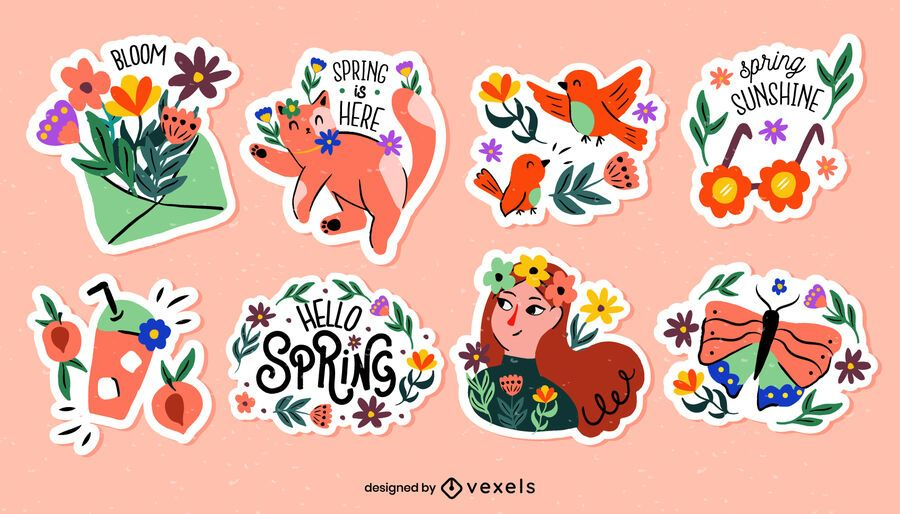 Spring season stickers set