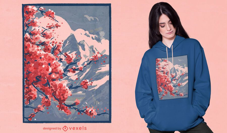 Design de camisetas de montanha em flores de cerejeira