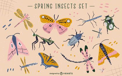 Conjunto de vetores de insetos da primavera