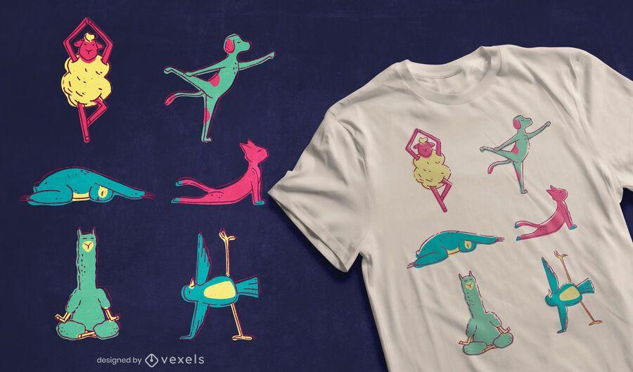 Diseño de camiseta de animales de yoga.