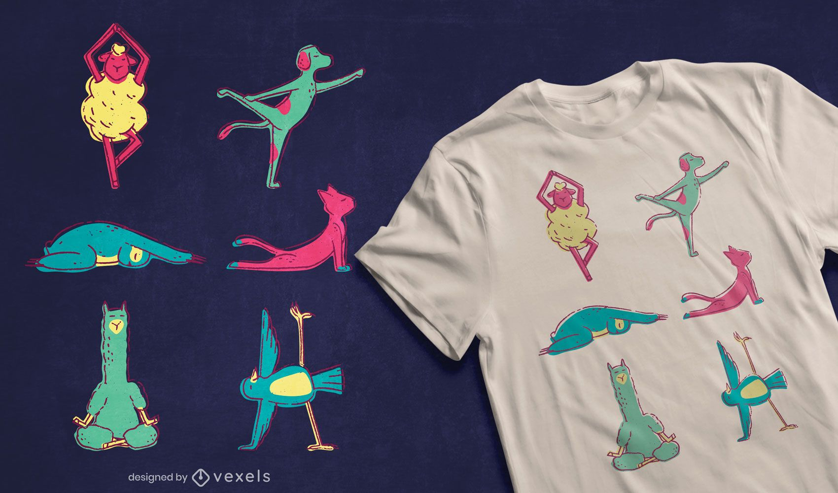 Yoga animals t-shirt design