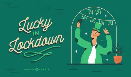 Glück im Lockdown-Illustrationsdesign