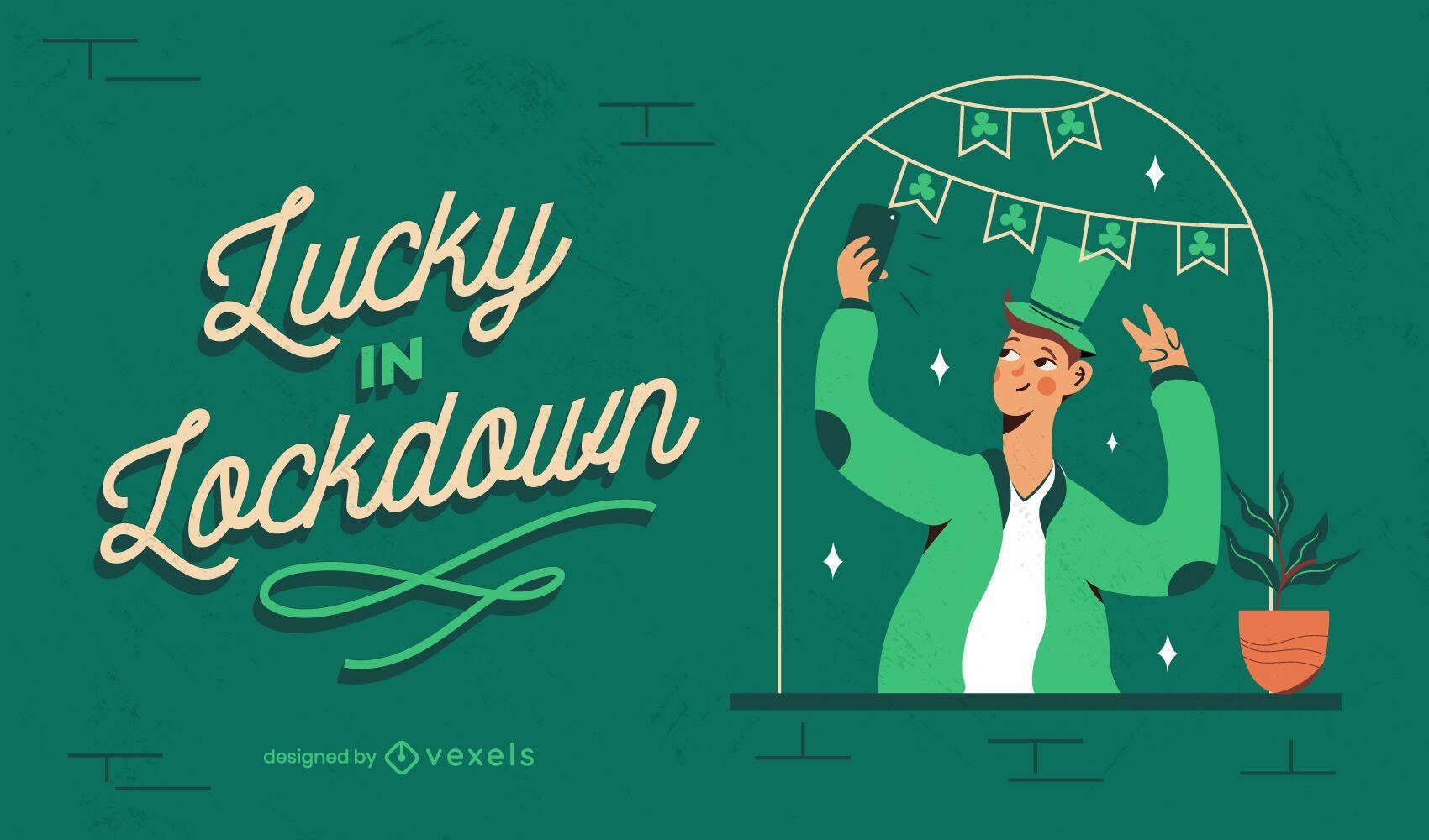 Lucky in lockdown illustration design