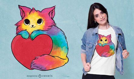Design de t-shirt de gatinho dos namorados