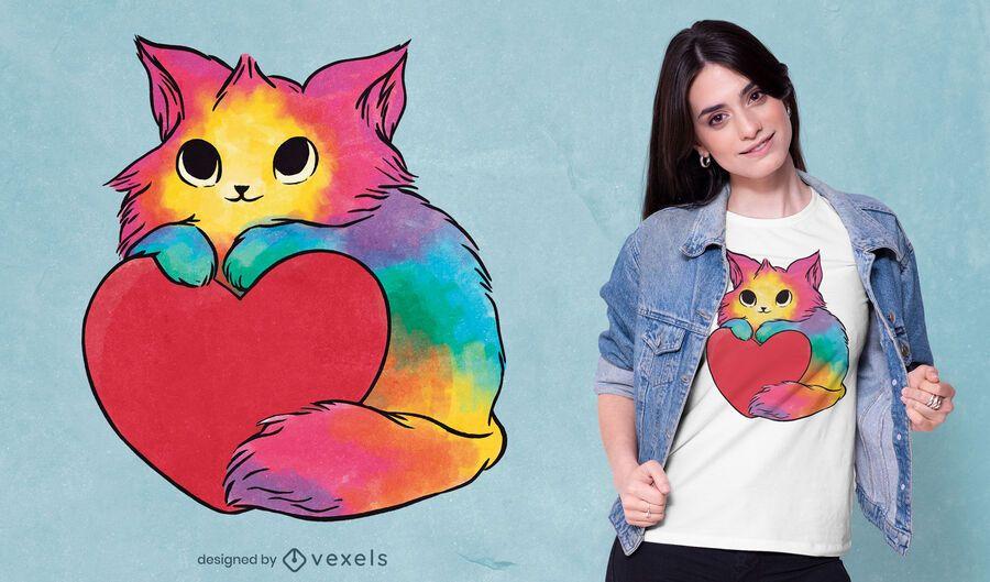 Diseño de camiseta de gatito de San Valentín