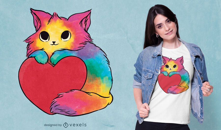 Valentine kitten t-shirt design