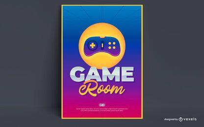 Design do pôster da sala de jogos