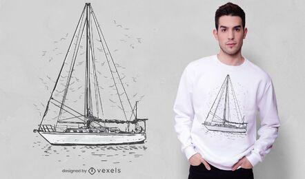 Diseño de camiseta de velero dibujado a mano.