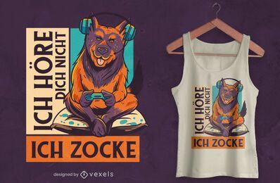 Gamer dog t-shirt design