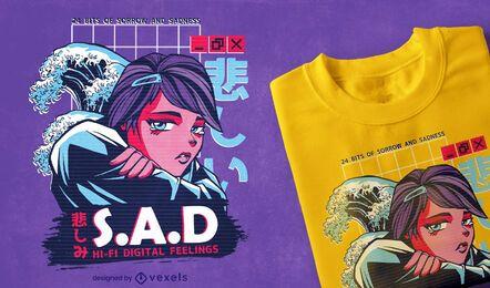 Design de camisetas femininas de anime Vaporwave