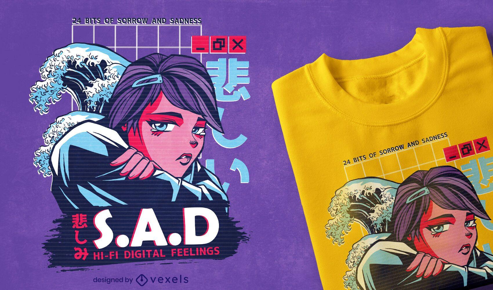 Diseño de camiseta vaporwave anime girl