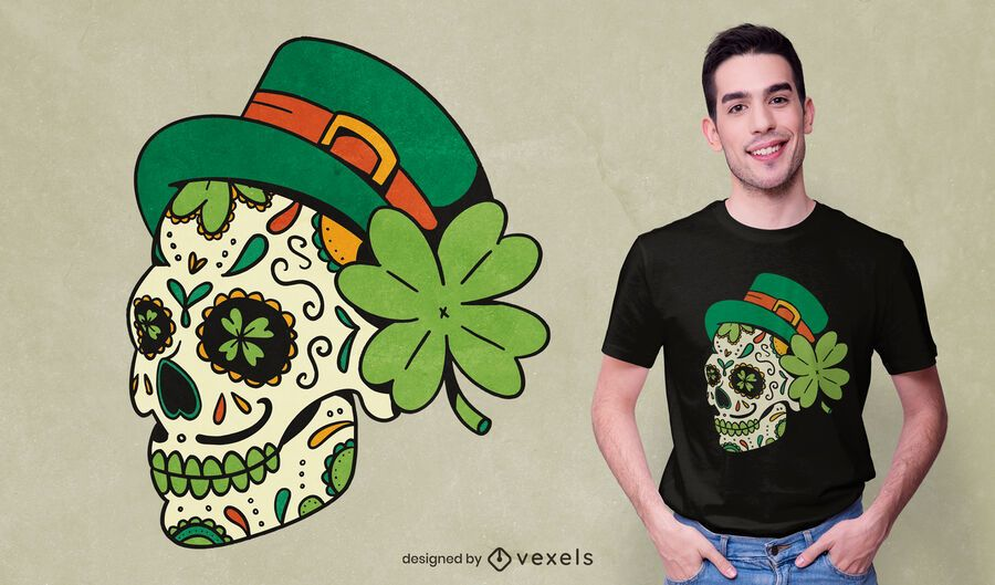 Design de camiseta com o crânio de São Patrício