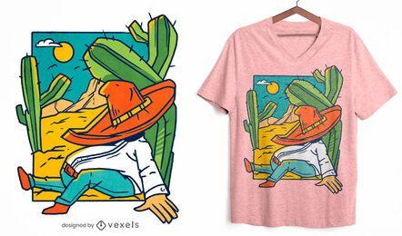 Diseño de camiseta hombre durmiendo desierto