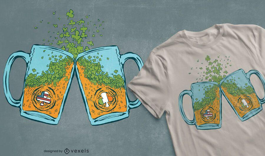 Diseño de camiseta de cerveza irlandesa de estados unidos