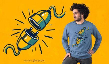 Diseño de camiseta de cable desenchufado