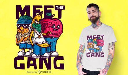 Lernen Sie das Gang-T-Shirt-Design kennen