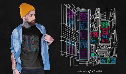 Diseño de camiseta de neón de Tokio