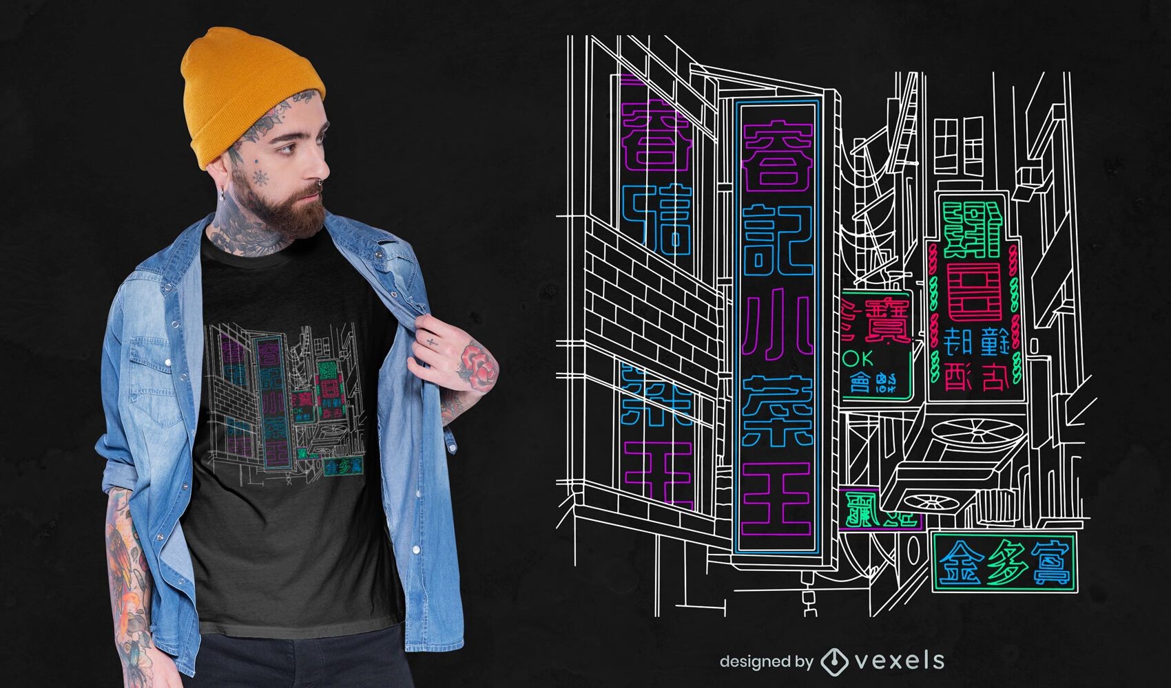 Tokyo neon t-shirt design