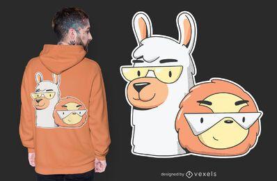 Diseño de camiseta de perezoso alpaca.