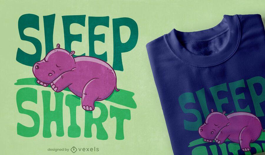 Diseño de camiseta hippo sleep shirt