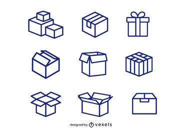 Cardboard box icon set