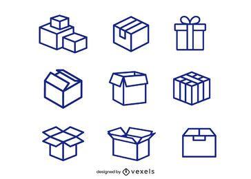 Conjunto de ícones de caixa de papelão