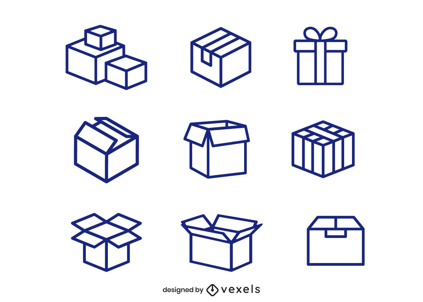 Cardboard box icon set